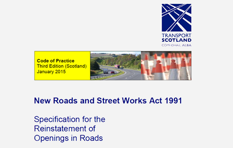 Specification for the Reinstatement of Openings in Roads